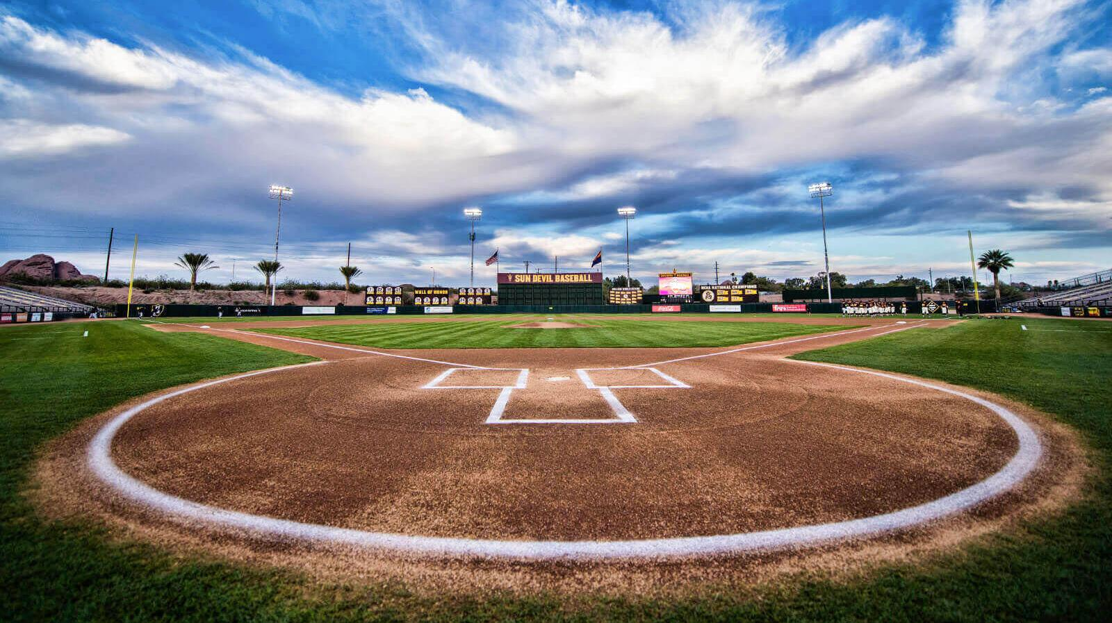 The view from home plate at Phoenix Municipal Stadium