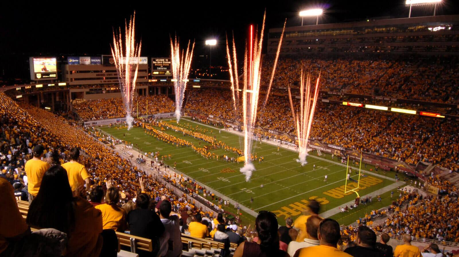 Fireworks dazzle the crowd at a Sun Devil Stadium football game