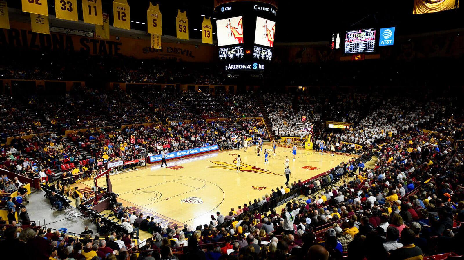 The crowd watches a student basketball game at Desert Financial Arena